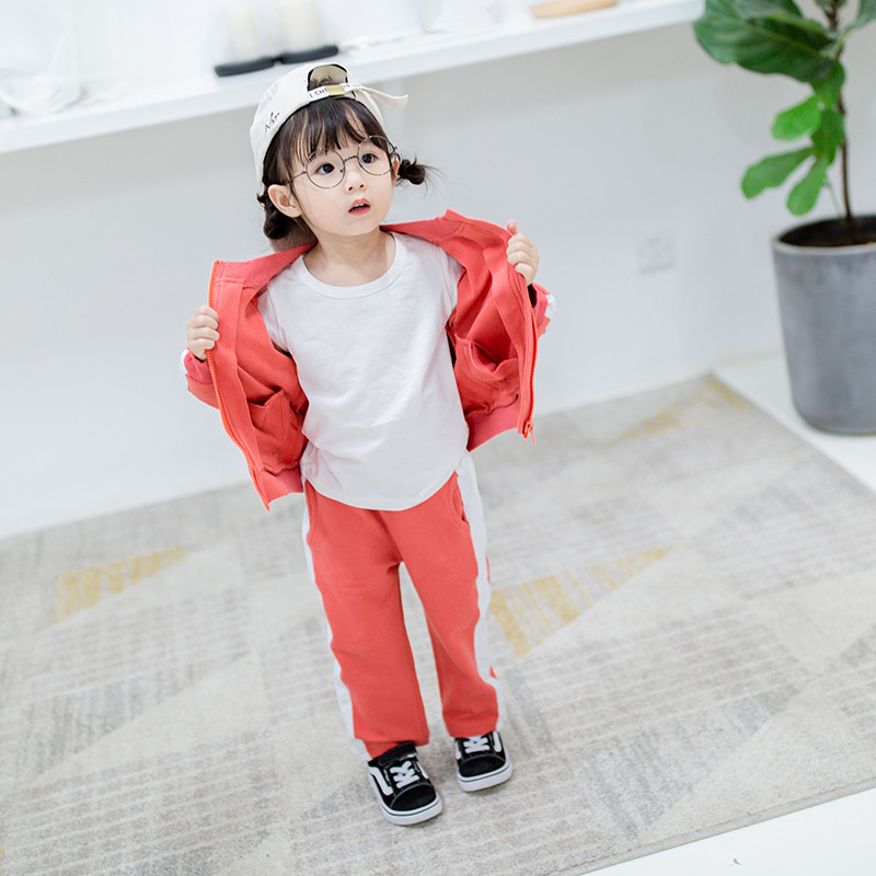 New Baby Boys girls Spring autumn Clothing Sets Print letters Tracksuits Zipper Jackets Coat+Pants 2pcs Sports Suit Kids Outfits