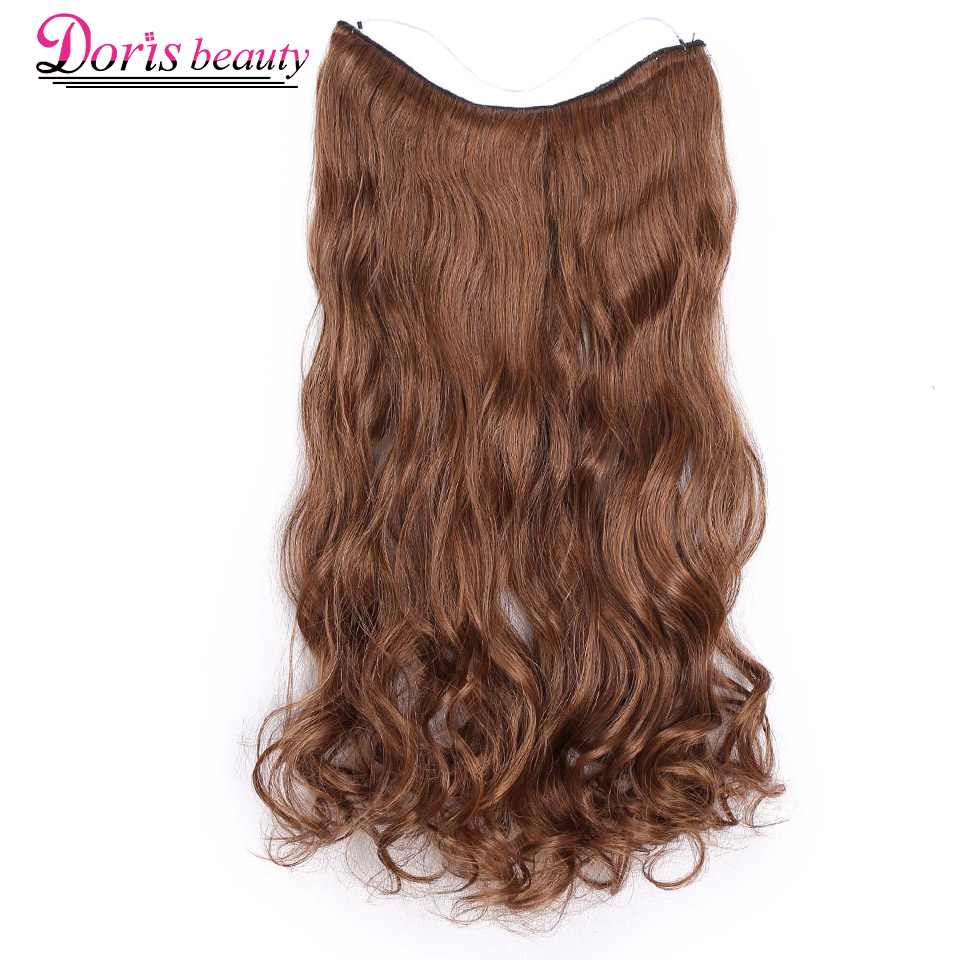 20 Inches Invisible Wire No Clips In Hair Extensions Hairpieces Ombre Halo Colored For Hair Straight Wavy Natural Synthetic