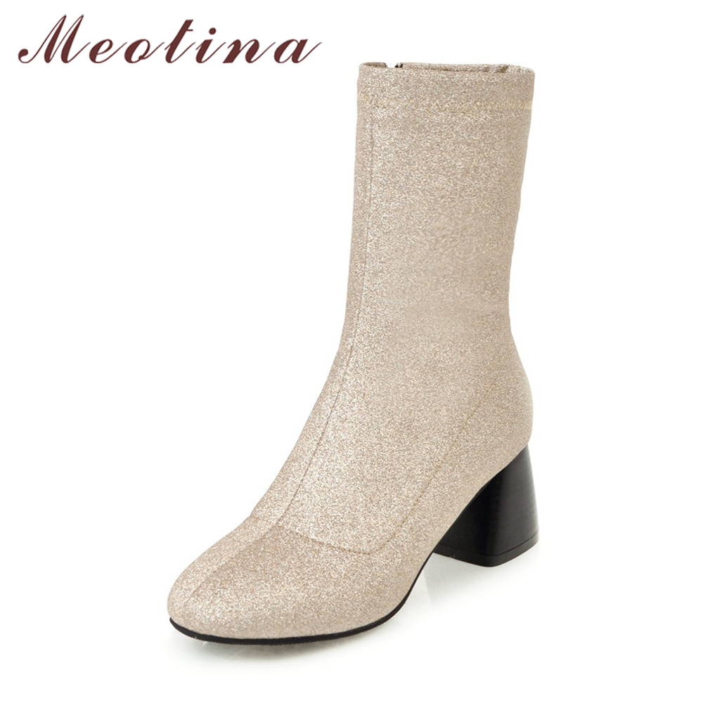 Meotina Winter High Heel Boots Bling Mid Calf Boots Women Western Boots Fur Zip Lady Autumn Shoes Large Size 34-43 Sliver Red meotina women boots winter chunky heel western boots ladies ankle boots large size 34 43 female autumn shoes 2018 white brown