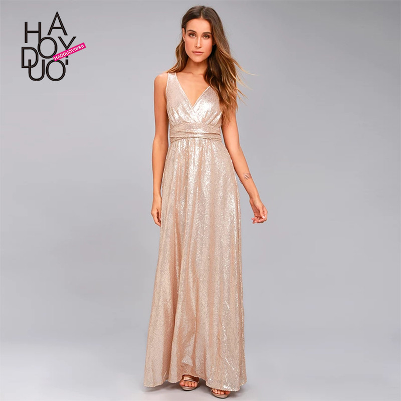 Haoduoyi summer western style fashion slim sexy party solid color full sequined backless SML XL XXL woman's Casual long dress