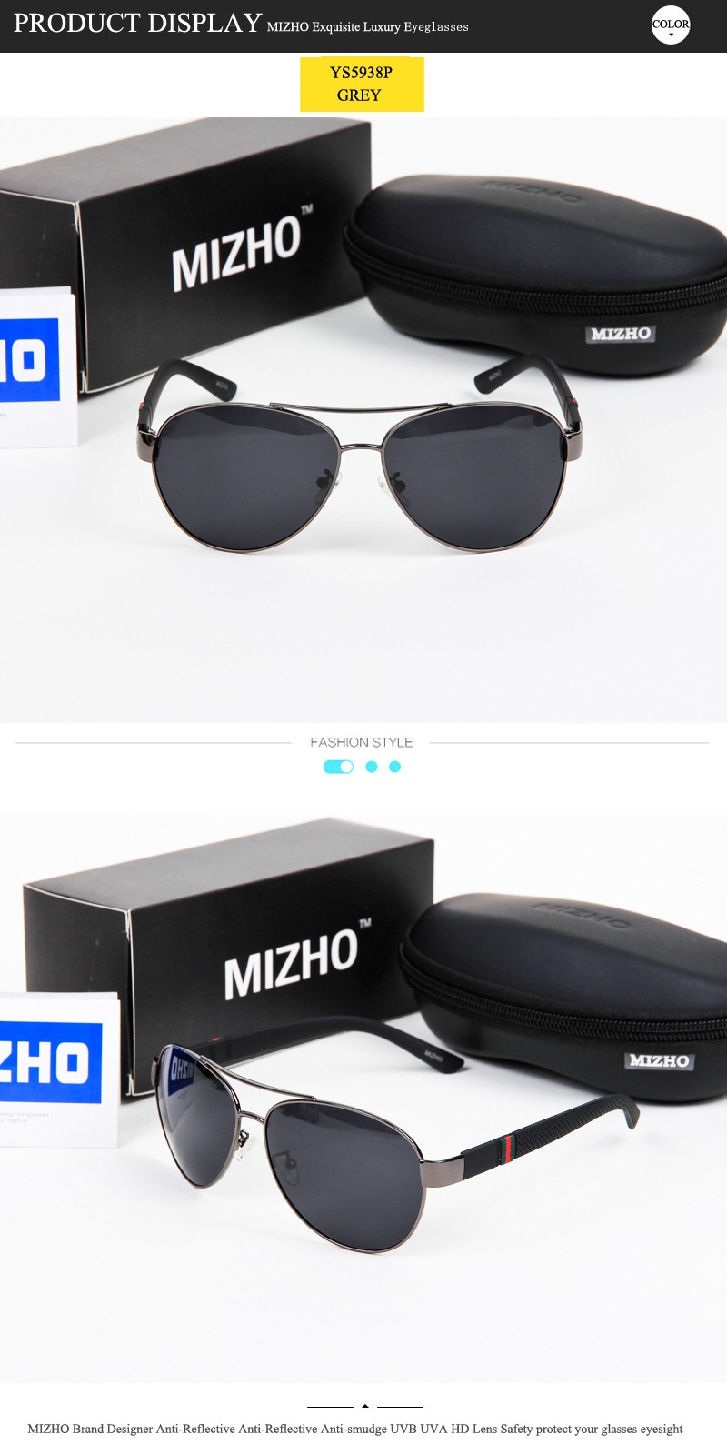 ab95f4451 MIZHO Brand High Quality Polaroid Sunglasses Men Polarized Driving 26g