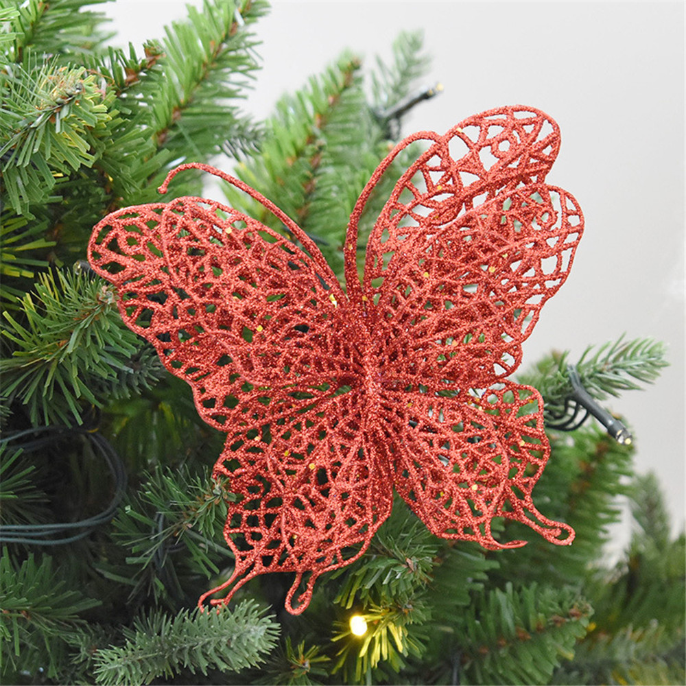 Hot 6Pcs Glitter Christmas Butterfly Clip On Christmas Tree Birthday Party Decor