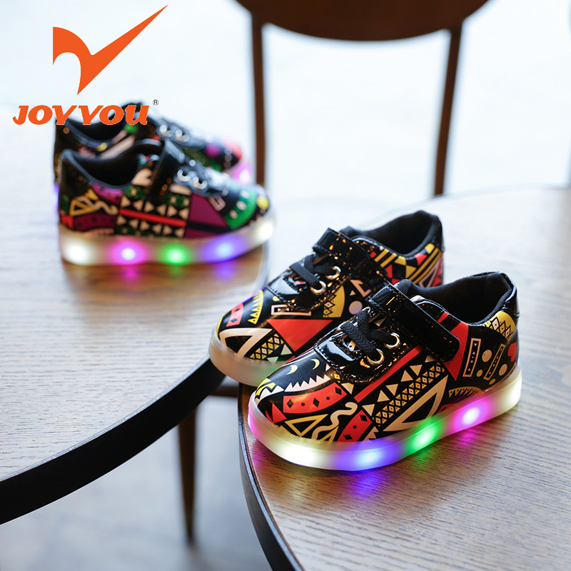 JOYYOU Brand USB illuminated Children Boys Girls Glowing Luminous Sneakers With Light Up Led School Footwear Teenage Kids Shoes 25 40 size usb charging basket led children shoes with light up kids casual boys