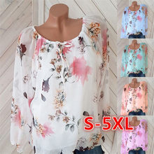 blouse Women Chiffon Shirt Casual Tops with lined New Full Sleeve Round Neck Print Spring And Summer Loose Blusas 5xl Plus Size(China)
