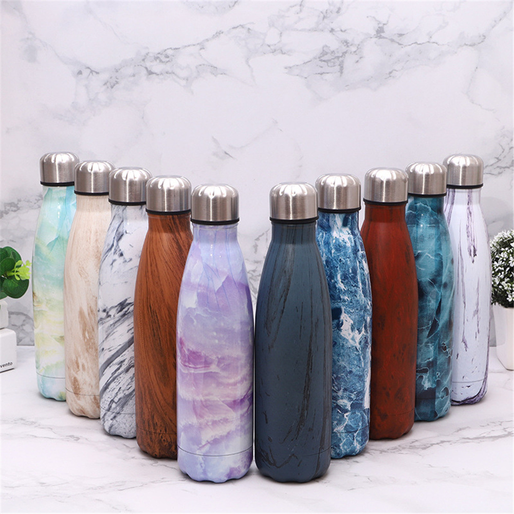 Marble Texture Water Bottle Wooden Printed Thermos Stainless Steel Vacuum Flask Insulated Sport Drink