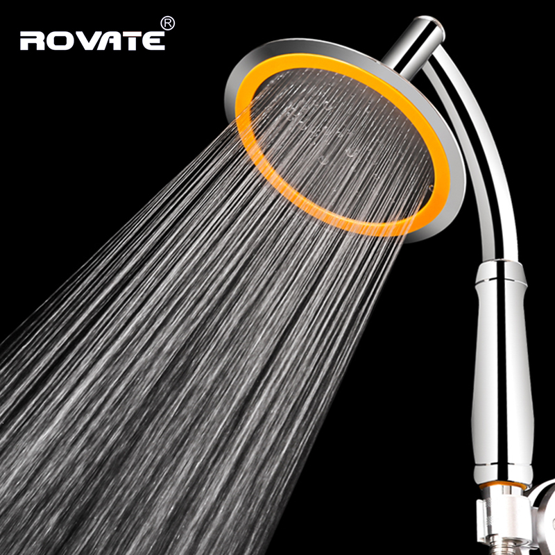 ROVATE Bath Pressure Large Handle Shower Head Nozzle Water Saving Big Rainfall Boost Hand Shower Accessories Top Spray Head