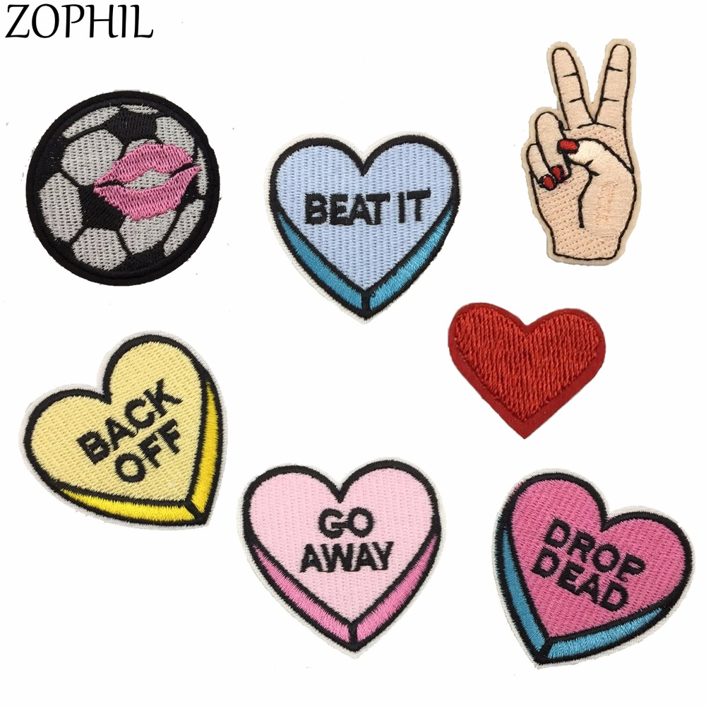 ZOPHIL 7pcs Patches For Clothes Stickers DIY Embroidered Iron On Garment Accessories Sew Fabric Badge Cartoon Ornament Applique