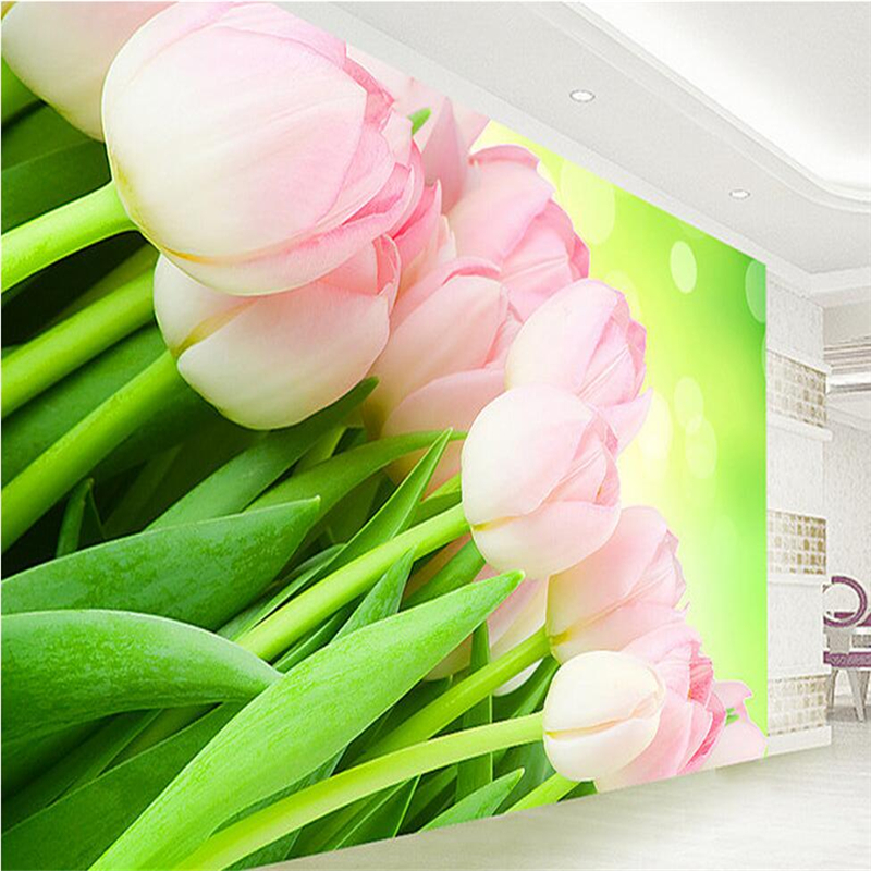 Flower Wallpaper for Home Custom Photo Wall Mural TV Room Furniture Tulips Embossed Wall Paper Environment Friendly Room Decor customize photo wallpaper murals slovenia lake 3d embossed wallpaper environment friendly tv background wall paper for kids room