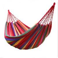 Thick Cotton Hammock Travek Summer Camp Outdoor Garden Hang Bed Rest Swing Canvas Stripe Rainbow Hamak