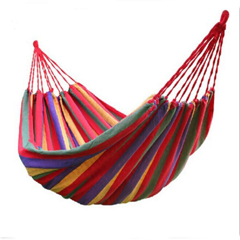 все цены на Thick Cotton Hammock Travek Summer Camp Outdoor Garden Hang Bed Rest Swing Canvas Stripe Rainbow Hammock Big Size 200*80cm