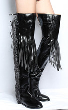Bota feminina balck patent leather thigh high fringe rain boots crotch sexy overknee pointed toe long ladies boots shoes woman chaussures femme boots leather stockings pvc overknee boots red crotch female winter boots high heel long rain stretch booties