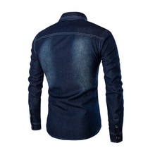 2018 Free Shipping New Spring Men's Casual Fashion Shirt Plus Size Deep Blue Cowboy Shirt Denim Turn-down Collar Shirt D56
