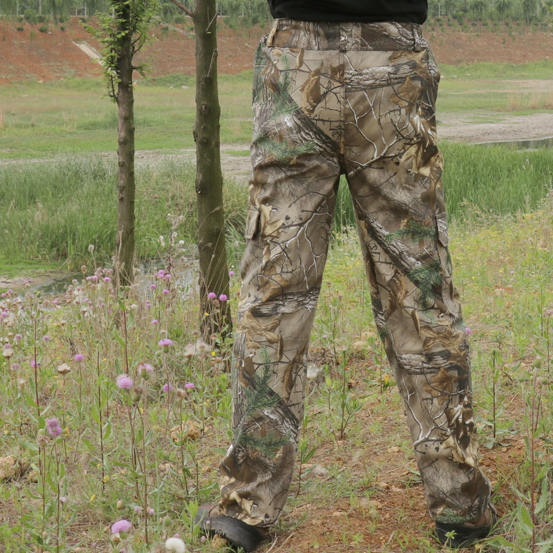 Large size noiselessly cloth cotton breathable bionic camouflage pants men's outdoor hiking fishing jungle hunting long trousers 1
