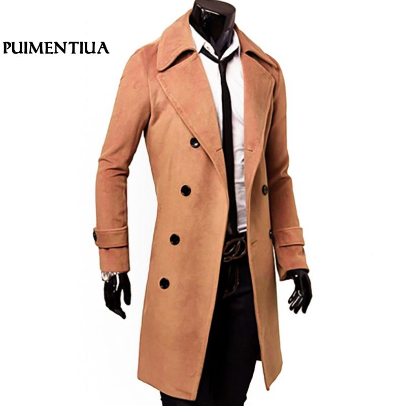 Puimentiua   Trench   Coat 2018 Fashion Men Wool Blends Long Coat Autumn Winter Windproof Slim   Trench   Male Plus Size Coat