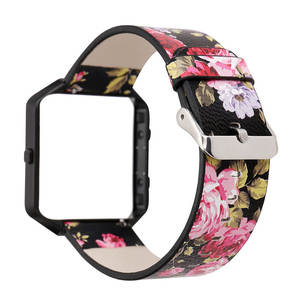 Image 5 - DAHASE Floral Lederband 23mm Blumenband Ersatz Uhrenarmband Für Fitbit Blaze Band w Bunte Metallrahmen