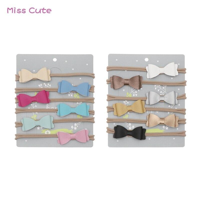 12 Pcs/lot Colorful Nylon Headband For Baby Handmade PU Leather Bows Headband Nylon Elastic Baby Girl Hair Accessories Headwear