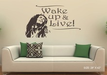 28x42 Large Bob Marley Wall Decal Vinyl sticker home decor wall word lettering wake up live the life you love Decals KW-505