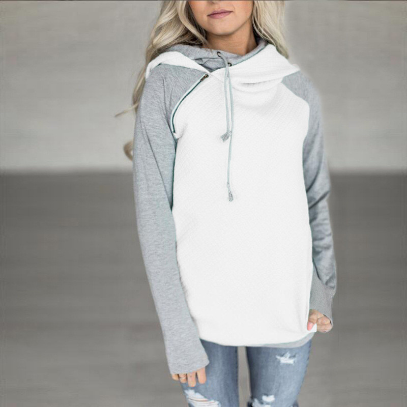 elsvios 2017 double hood hoodies sweatshirt women autumn long sleeve side zipper hooded casual patchwork hoodies pullover femme ELSVIOS 2017  hoodies, Autumn Long Sleeve HTB19CCqkPoIL1JjSZFyq6zFBpXan