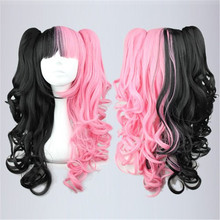 MCOSER Fashion Pink Black Mixed 70cm Long Anime Lolita Clip on Ponytail Cury Cosplay Wig