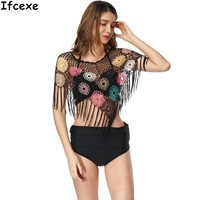Embroidery Sexy Swimwear Women Beach Skirt Cover Up Beachwear Swimsuit Bathing Suit Cover Up Floral Crochet Bikini Cover-Ups