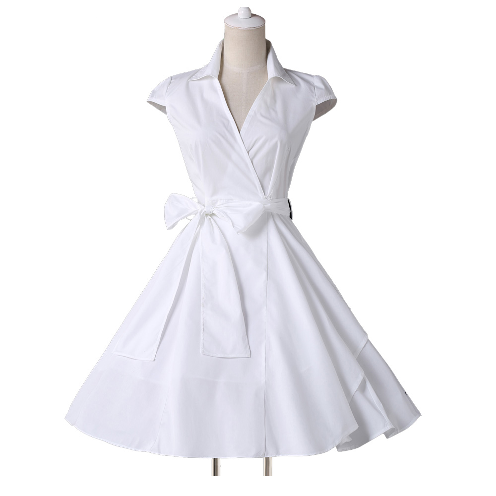 Womens Summer Dresses 2015 Style Black White Purple Short 50s 60s Vintage Retro Dress Pinup Rockabilly Swing 6087 In From