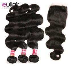 """Eullair волосы бразильские тела волнистые волосы плетение пучков с закрытием 4 шт. человеческие волосы пучки с закрытием 8-26 """"Наращивание волос"""