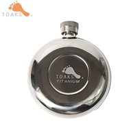 TOAKS Titanium Wine Flask 150ml Portable Hip Wine Alcohol Flask Cap Pocket Wine Bottle for Whiskey with Bag Mens Gift FLASK 150