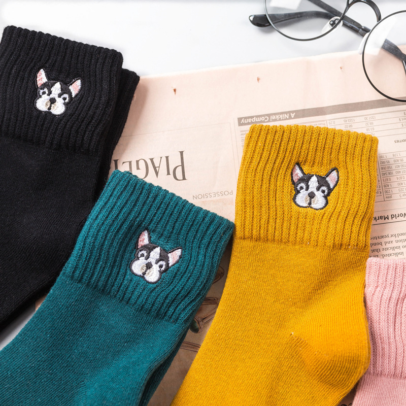 Spring summer   socks   for women cotton   sock   harajuku cartoon dog embroidery cute   socks   female casual sox ladies meias mujer 2019