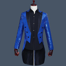 Custom Royal Blue Tailcoat  Men's Classic Suit Sequin Male Blazer Jacket Men Suit Stage Show Performance Tuxedo Prom 2 Pieces