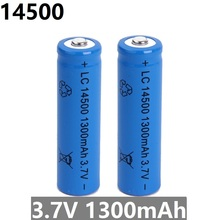 Superior Quality 14500 battery 3.7V 1300mAh rechargeable li-ion battery for Led flashlight batery litio battery Newest