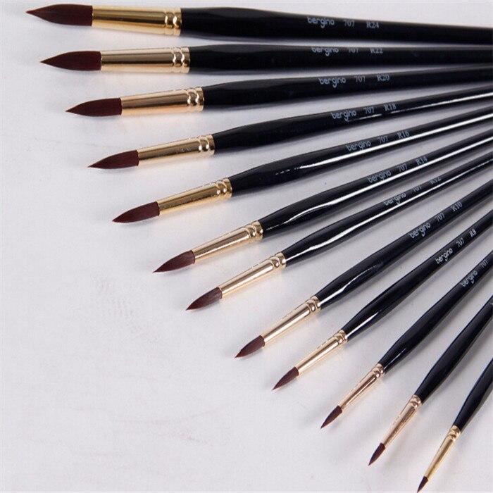 ФОТО 12pcs/set High-grade Nylon Hair Watercolor Paint Brush Drawing Pen Set Art School Supplies Oil Paint School Stationery