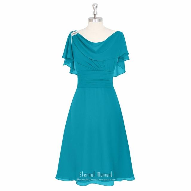 Eterno Momento Una Línea Madre De La Novia Longitud de La Rodilla Vestidos de Gasa Vestido De Novia Para La Madre MD1026