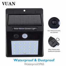 VUAN 20 LEDs Waterproof Solar Powered Light Motion Sensor Outdoor Garden Patio Path Wall Mount Fence Security Lamp Lights