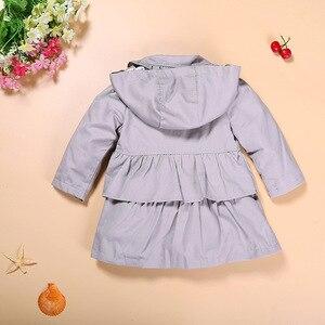 Image 3 - Hooyi Trench coat pour bébés filles, vêtements pour enfants, tenue à capuche pour enfants de 1 5 ans, veste dextérieur gris, sweat shirt