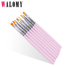 ФОТО 8pcs/set dual-ended uv gel french nail brushes moon smile building painting drawing flowers gradient dotting nail pen