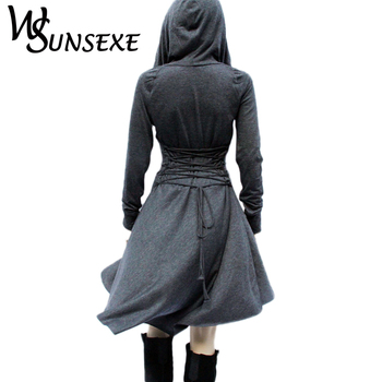 Irregular High Low Hoodies Dress Back Bandage Lace Up Blue Gothic Dresses Women Casual Long Sleeve Wrap Dresses 2017 New Autumn 5