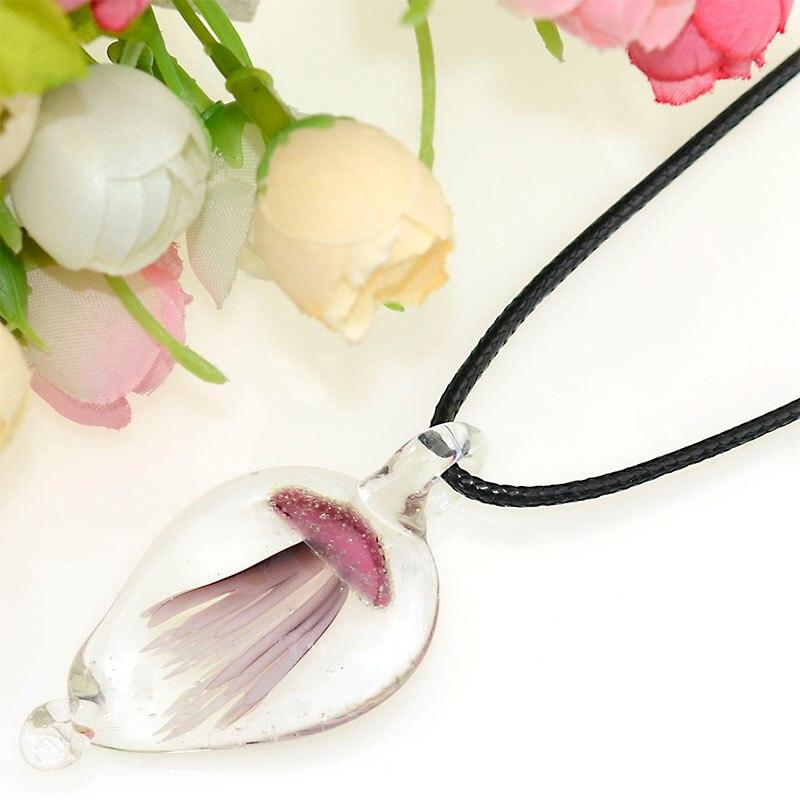 Handmade Murano Lampwork Glass 6 Color Glow Watch Luminous Jellyfish Pendant Fit Women Necklace Free cord