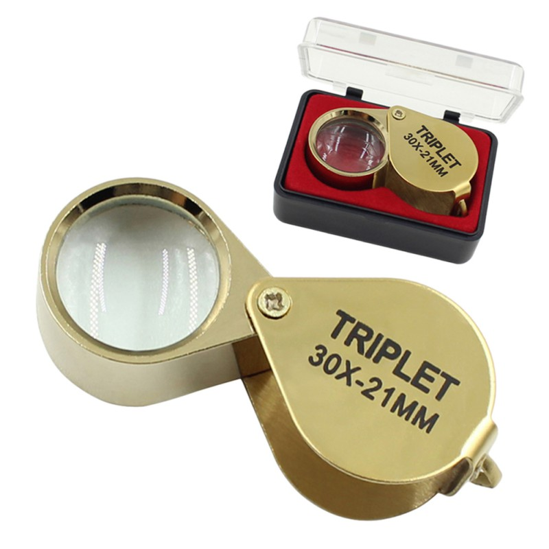 Portable 30X Power 21mm Jewelers Magnifier Gold Eye Loupe Jewelry Store Lowest Price Magnifying Glass With Exquisite Box