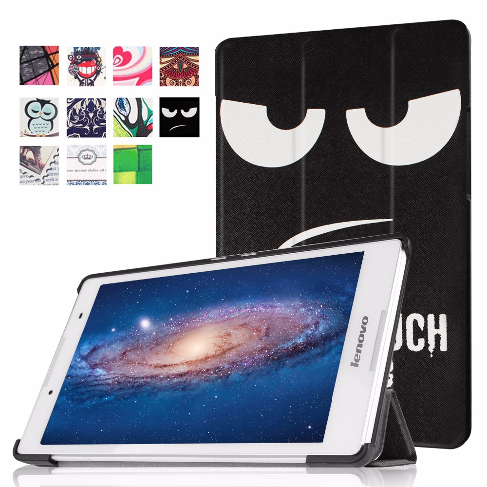 Case for Lenovo Tab 3 8 TB3-850M/850F Slim Painted Stand Cover PU Leather Case for Lenovo Tab 2 A8-50 A8-50F A8-50LC 8.0+Gifts slim fit stand feature folio flip pu hybrid print case for lenovo tab 3 730f 730m 730x 7 inch