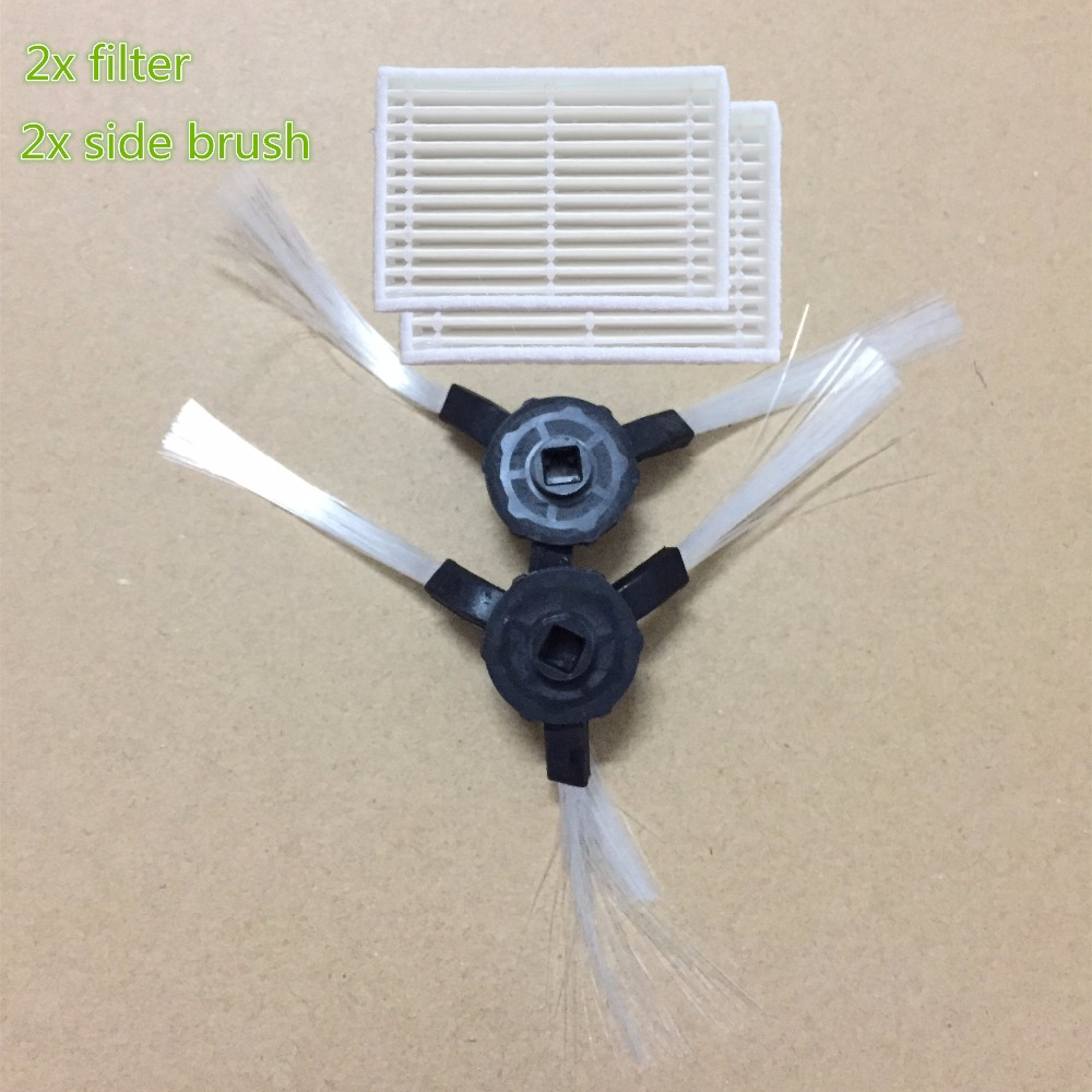 2x Robotic aspirador cepillo lateral y 2x Robot HEPA filtro para Kitfort KT504, panda X600 pet Midea VCR15 serie