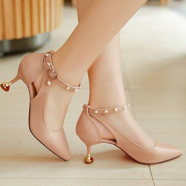89ef697a32d Women Pumps Ladies Shoes Rivet Stiletto Pointe Kitten Heels High Heels Nude  Wedding Party Shoes Office Lady Work Fashion sandals