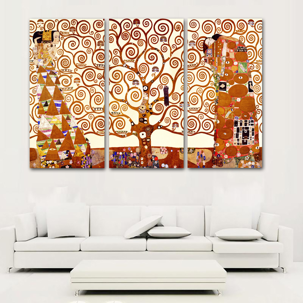 Selflessly 3 Panels Canvas Painting Gustav Klimt Tree Of Life Wall Pictures For Living Room Art Print Posters Unframed