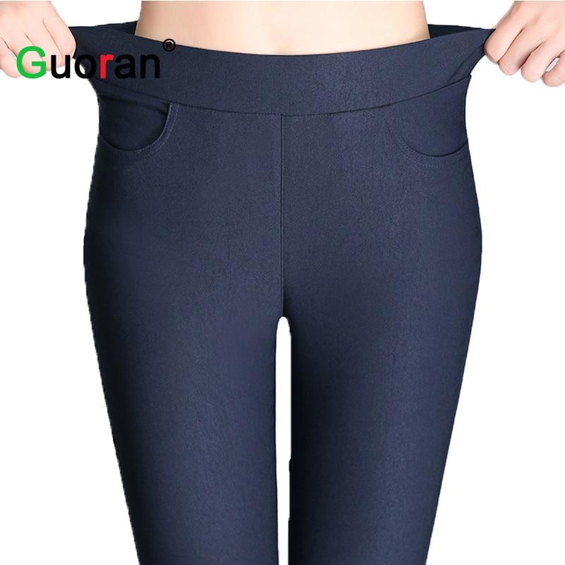 {Guoran}Candy Color Women High Stretch Leggings 2016 New Black Blue White Female Skinny Pencil Pants Plus Size Ladies Trousers