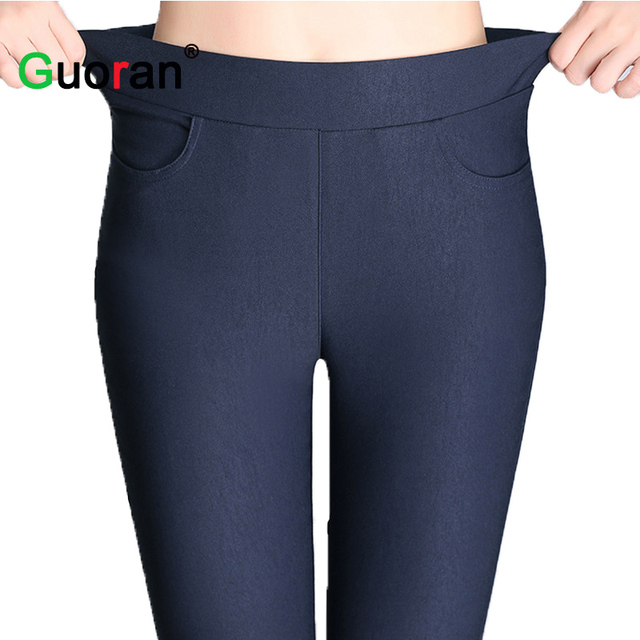 {Guoran}Candy Color Women High Stretch Leggings 2016 New Black Blue White Female Skinny Pencil Pants Plus Size Ladies Trousers