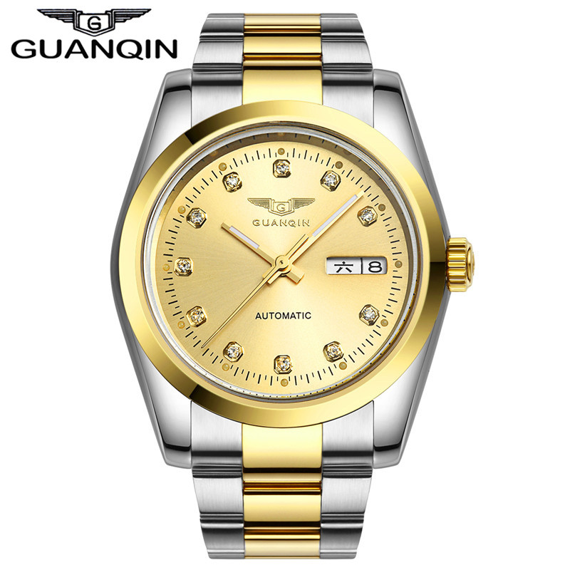 Automatic watch men Luxury GUANQIN Waterproof Diamond sapphire Men gold watch men watches top brand 12 month Guaranteed! guanqin men automatic mechanical watch diamond waterproof sapphire watches steel men luxury top brand menb gold wristwatches