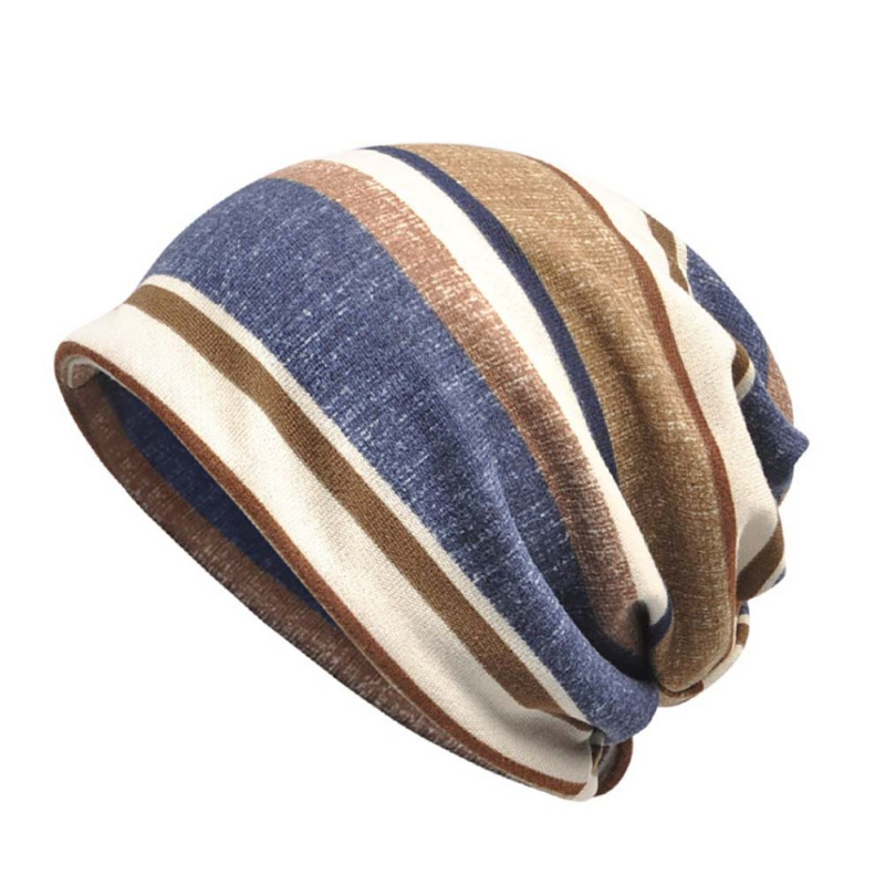 2 in 1 Striped Flannel Casual Style Sunshade Breathable Stretch Hat Neck Warmer Head Wear Beanies Cap Scarf