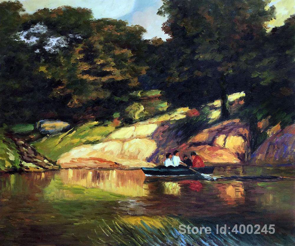 Пляж картина маслом сцена гребли в Центральном парке Эдварда Генриха поттаста работа на холсте ручной работы высокое качество