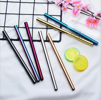 100PCS Reusable 12MM Bubble Tea Straws, PVD Plated 12MM Straight Metal Straws, 12MM Colored Straws for Smoothie