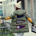 2016 jaqueta de algodão mulheres para baixo casaco de inverno longo quente para baixo parkas com capuz plus size padrão de impressão de Manga longa casaco outwear