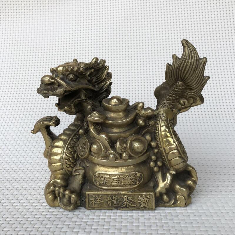 Pur cuivre art Xianglong Jubao Pan Long Yuanbao cornucopia Feng Shui artisanat mascotte ornementsPur cuivre art Xianglong Jubao Pan Long Yuanbao cornucopia Feng Shui artisanat mascotte ornements